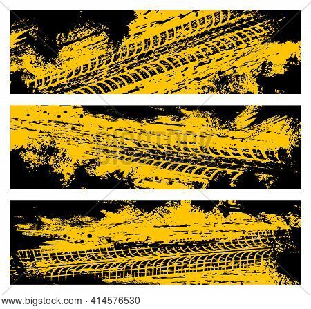 Tyre Tracks, Off Road Tire Prints, Grunge Vector Car Treads, Black And Yellow Spots And Marks. Rally