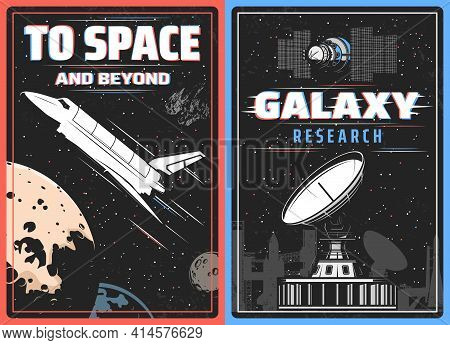 Galaxy Research, Outer Space Exploration Retro Vector Poster With Glitch Effect. Spaceship Explore C