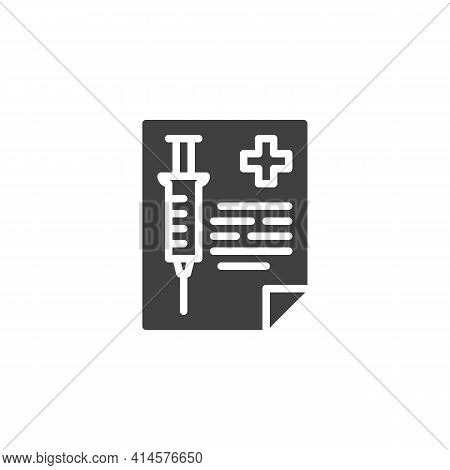 Vaccination Record Card Vector Icon. Filled Flat Sign For Mobile Concept And Web Design. Medical Vac