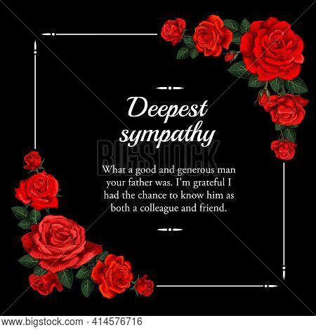 Funeral Vector Card With Red Rose Sketch Flowers. Obituary Poster With Engraved Floral Decoration, D