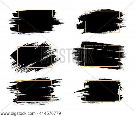 Grunge Frames Isolated Vector Rectangular Borders With Black Rough Scratched Edges. Grungy Vintage O