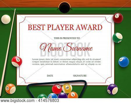 Billiard Tournament Best Player Diploma Or Certificate Template. Billiards Competition, Snooker Cham