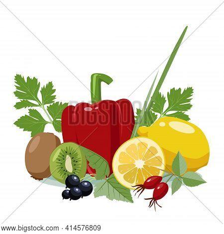 Food Sources Of Vitamin C. Lemon, Sweet Pepper, Onion, Kiwi, Black Currant, Rosehip, Parsley. Vector
