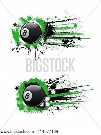Billiards Ball Banners For Pool Or Snooker Club Championship, Vector. Billiard Sport Tournament And