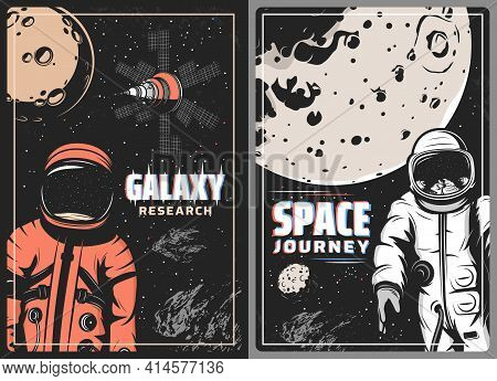 Galaxy Research Retro Vector Posters With Glitch Effect. Astronaut And Cosmonaut In Outer Space Jour