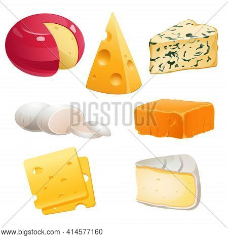Set Of Cheese Types Roquefort, Brie And Maasdam