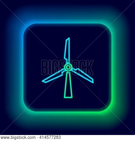 Glowing Neon Line Wind Turbine Icon Isolated On Black Background. Wind Generator Sign. Windmill Silh