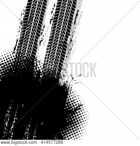 Offroad Grunge Vector Tyre Prints With Dirty Dotted Black Spot On White Background. Automobile Prote