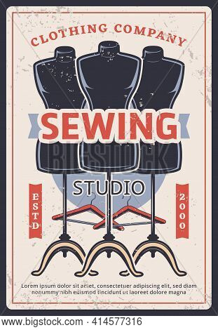Sewing Studio Retro Vector Poster With Mannequins And Hangers. Dress Tailoring Service Or Dressmaker