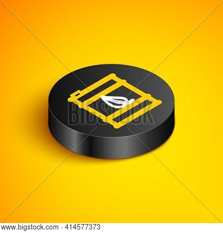 Isometric Line Bio Fuel Barrel Line Icon Isolated On Yellow Background. Eco Bio And Canister. Green