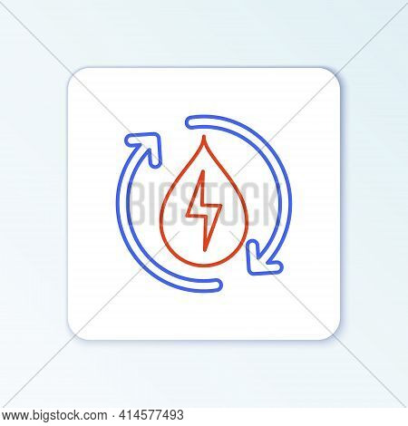 Line Recycle Clean Aqua Icon Isolated On White Background. Water Recycling Energy Symbol. Drop Of Wa