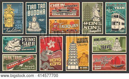 Hong Kong Travel Vector Chinese Landmarks. Dragon, Traditional Ancient Pagoda Building Architecture,