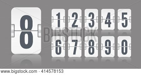 White Flip Mechanical Score Board Numbers. Vector Template For Time Counter Or Web Page Timer