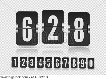 Set Of Flip Numbers On A Mechanical Score Board With Reflection Different Floating. Vector Template