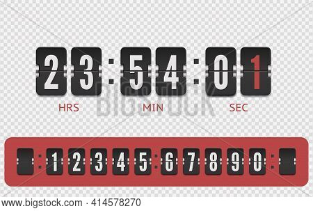 Scoreboard Countdown Number Font. Vintage Flip Clock Time Counter Vector Template. Retro Design Scor