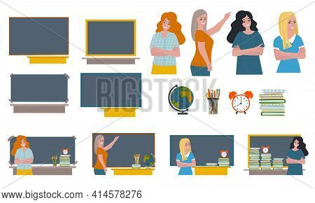 Set - Women, Blackboard And Supplies. Concept Woman At The Blackboard On The Table Globe And Textboo