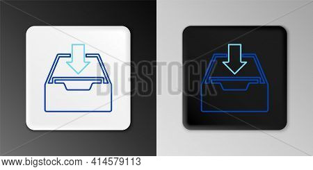 Line Download Inbox Icon Isolated On Grey Background. Add To Archive. Colorful Outline Concept. Vect