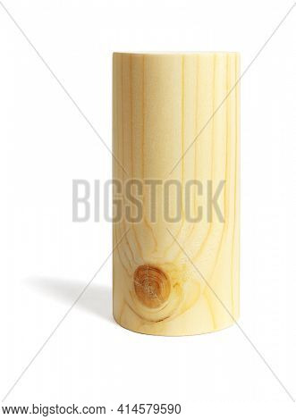 Wooden Cylindrical Block on White Background