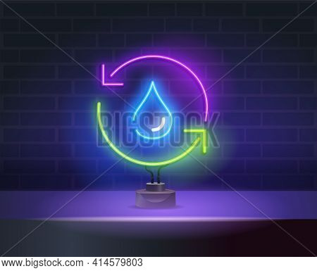 Recycle Water Blue Glowing Neon Ui Ux Icon. Vector Neon Sign Eco Energy. Earth Day Neon Sign, Bright
