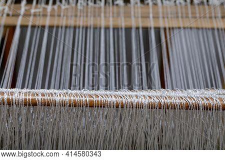 Vintage Loom Close Up. Folk Needlework Of Russian Women.