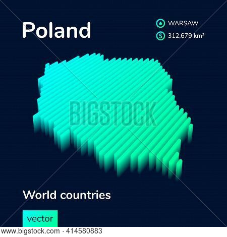 Stylized Neon Simple Digital Isometric Striped Vector Poland Map, With 3d Effect.  Map Of Poland Is