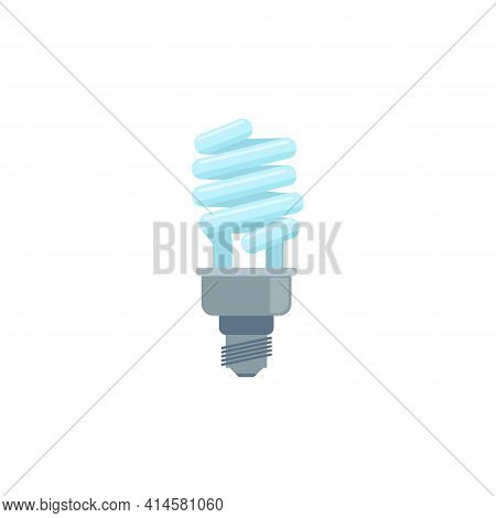 Vector Icon Of Energy Saving Light Bulb, Electric Glass Fluorescent Lamp.