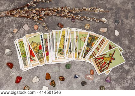 Fortune-telling. Tarot Cards And Other Accessories. Occult, Esoteric And Divination Still Life. Back