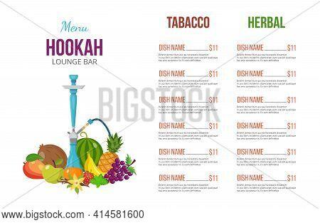 Hookah Lounge Bar Menu With List Of Tobacco Flavors, Flat Vector Illustration.
