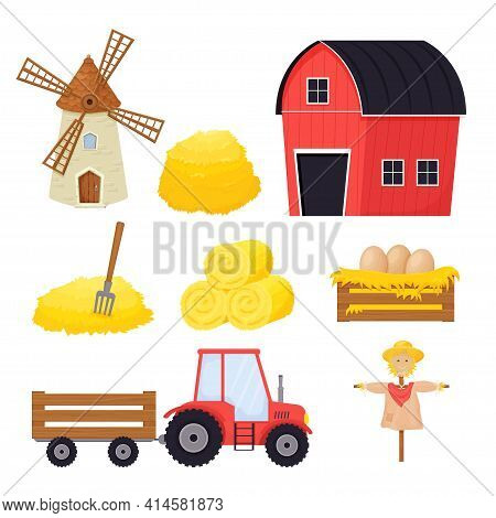 Farm Set With Bale Of Hay, Scarecrow, Windmill, Tractor In Cartoon Style Isolated On White Backgroun