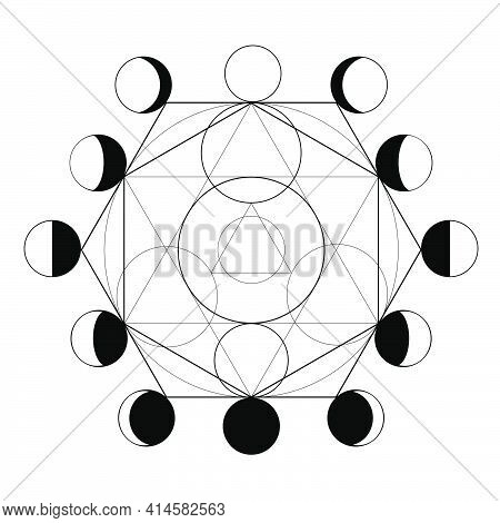 Symbol Of Alchemy And Moon Phases On White Background