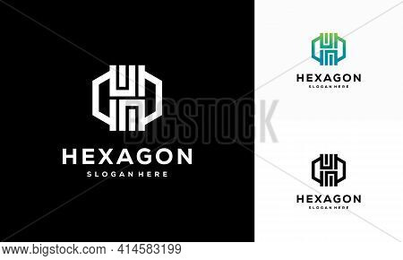 Modern Line Hexagon Logo Designs Template, Hexagon Tech Logo