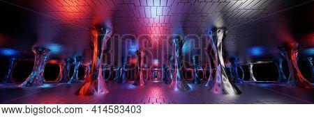 Sci Fi Futuristic Fantasy Strange Alien Structure Panorama, 3d Rendering