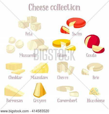 Cheese Collection. Different Kinds Of Delicious Cheeses.