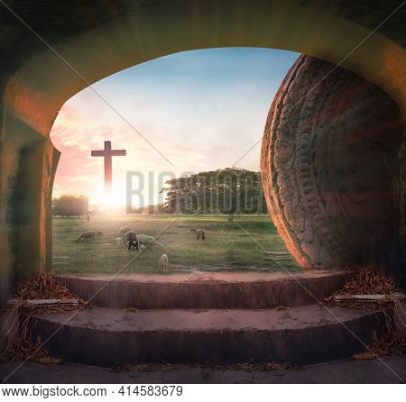 Easter Concept: Tomb Empty And Lamb With Crucifixion At Sunrise