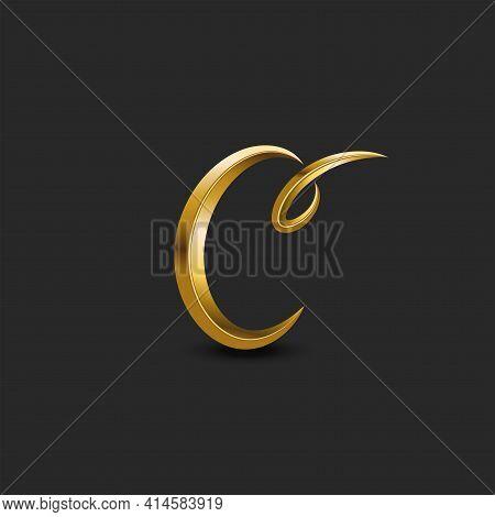 Calligraphic Golden Letter C Curl Monogram Logo, Feminine 3d Initial Symbol In The Vintage Style, Cr