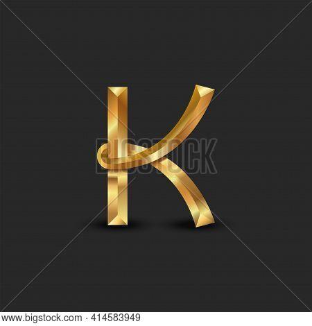 Golden 3d Letter K Logo Monogram, Creative Identity Mark, Metallic Facet Gold Business Card Emblem