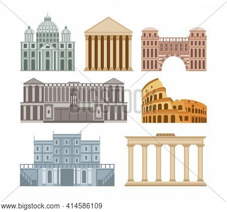Rome Historical Buildings Set Of Flat Cartoon Vector Illustration Isolated.