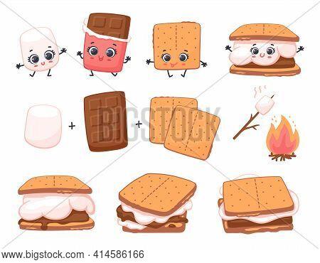 Scheme Of Smore Sweet Dessert Preparing, Cartoon Vector Illustration Isolated.