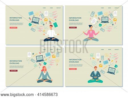 Banners With People Resting Of Information Overload, Flat Vector Illustration.