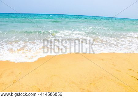 Beautiful Sandy Beach And Soft Blue Ocean Wave, Blue Ocean Wave On Sandy Beach