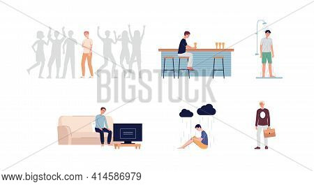 Loneliness, Stress And Depression Of Sad Young Man A Vector Illustrations.