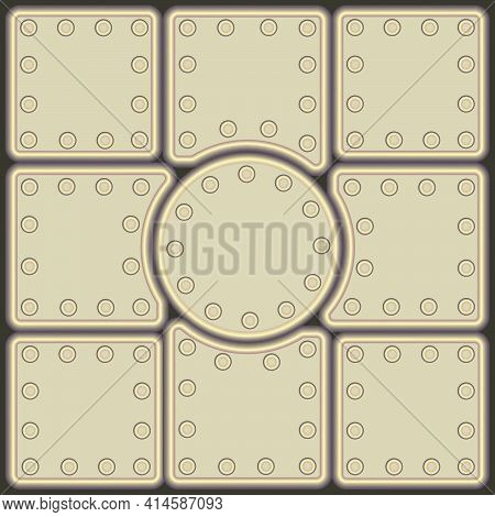 Background Consisting Of Metal Plates Of Light Greenish Color And Different Shapes, Fixed With Rivet