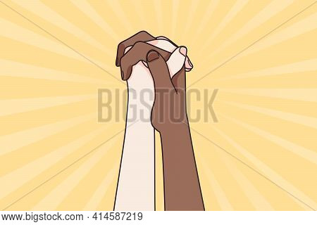 Black Lives Matter Saying Concept. Two People Of Multi Ethnic Cultures Holding Hands And Raising In