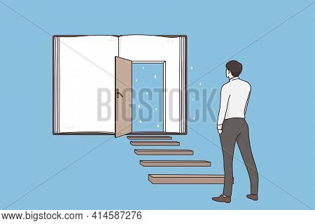 Possibilities, Success, Leadership Concept. Back Of Businessman Standing On Ladder Forward And Looki