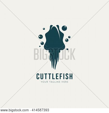 Cuttlefish Logo Template Vector Illustration Design. Simple Silhouette Logo Concept