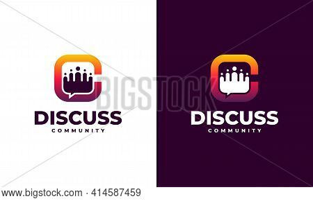 Discussion Group Logo Template, Consult Forum Logo Template, People And Consult Logo Designs Vector