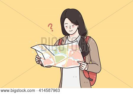 Traveling, Tourism, Vacations Concept. Young Smiling Girl Traveler Tourist Standing With Map And Try