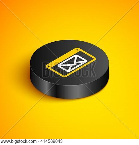 Isometric Line Mail And E-mail Icon Isolated On Yellow Background. Envelope Symbol E-mail. Email Mes