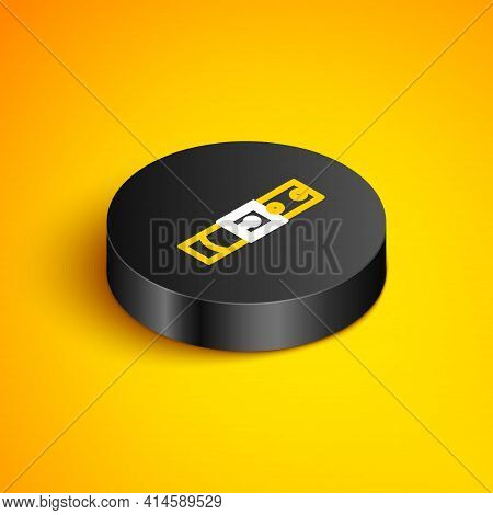 Isometric Line Leather Belt With Buttoned Steel Buckle Icon Isolated On Yellow Background. Black Cir
