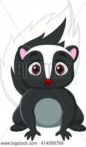 Vector Illustration Of Cartoon Baby Skunk On White Background